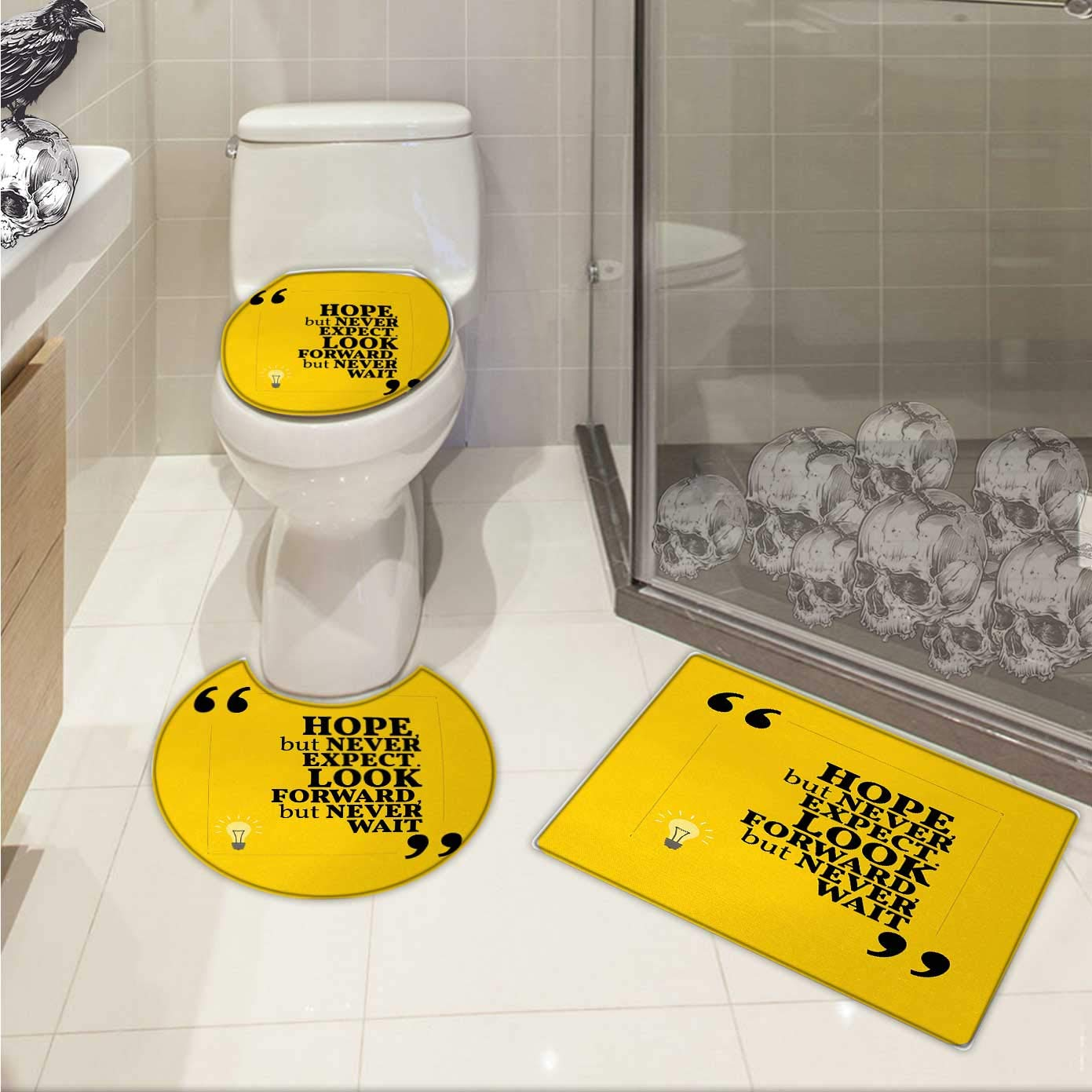 Carl morris hope bathroom toilet mat set message in quotation marks with square frame on yellow backdrop custom made rug set yellow pale yellow and black