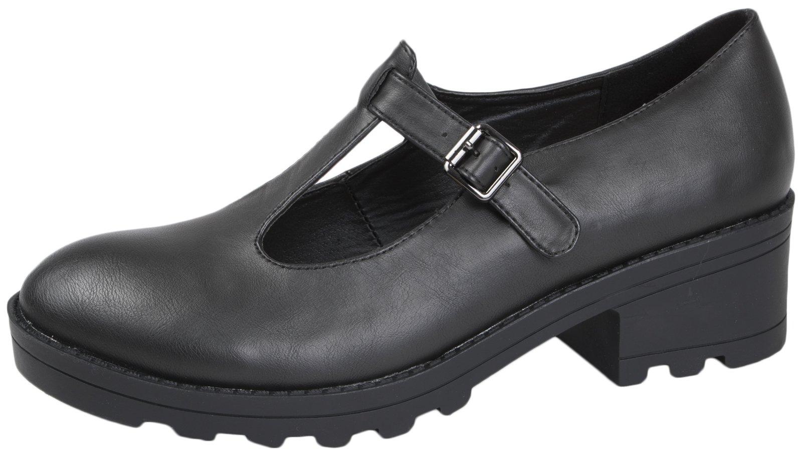 US Brass Girls Kids Childrens Black Matt Mary Janes School Shoes Size 8 UK Child