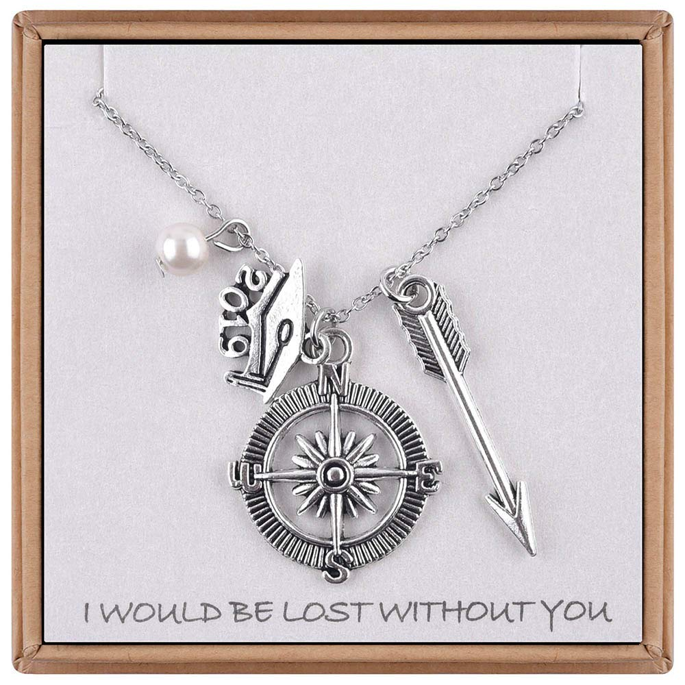 Inspirational Graduation Necklace Best Inspirational Gifts for Women Girls 18 Silver Color Dainty Arrow Graduation Cap Compass Inspirational Quotes Necklace Graduaion Gifts Arrow Compass Necklace