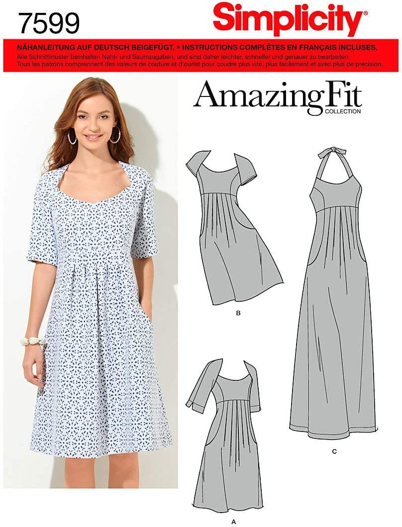 36-54 Schnittmuster Simplicity 7039 Kleid Gr