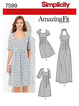 28b2c6b2bdd57f Simplicity Schnittmuster 7599 BB Damen Kleid,Habiller in 3 Variationen, Gr.  46-