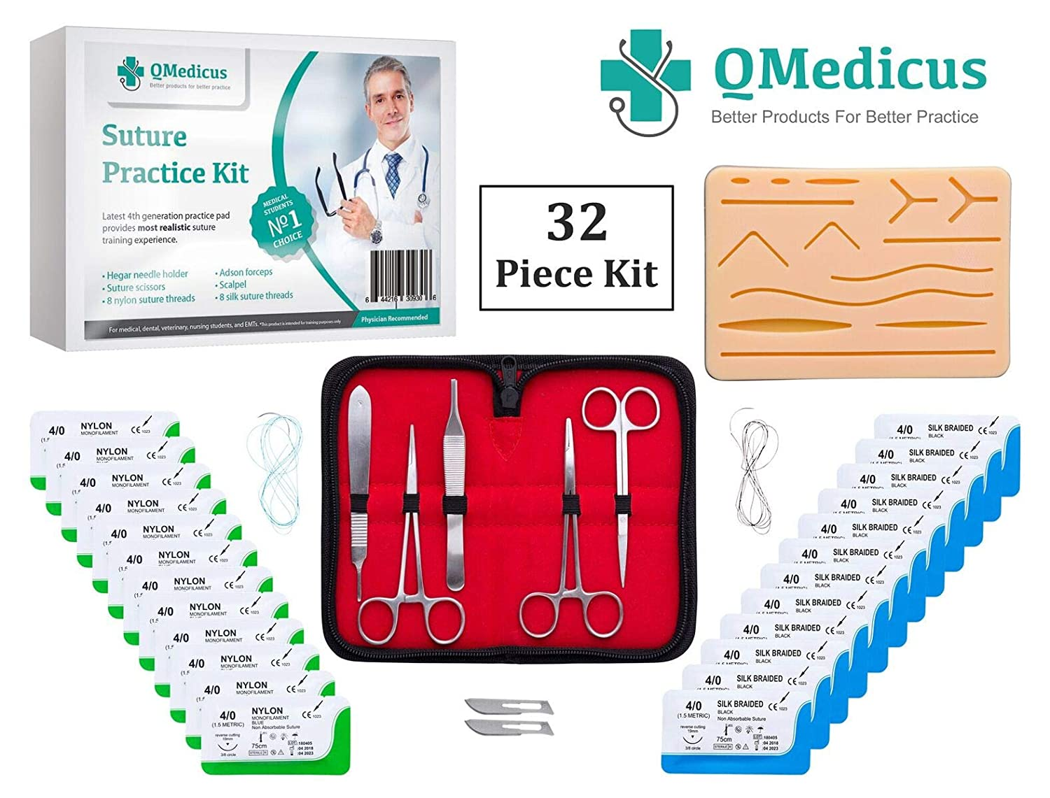 Complete Suture Practice Kit for Suture Training. Includes Full Set of Stainless Tools, 4th Generation Suture Pad with Pre-Cut Wounds, 24 Silk and Nylon Sutures. (for Educational Purposes only.) QMedicus