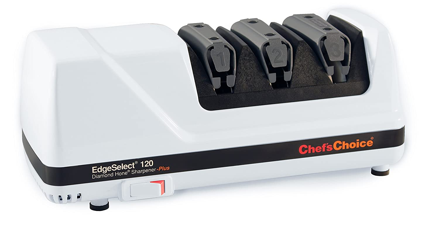 Chef sChoice 120 Diamond Hone EdgeSelect Professional Electric Knife Sharpener for 20-Degree Edges Diamond Abrasives Precision Guides for Straight and Serrated Knives Made in USA, 3-Stage, White