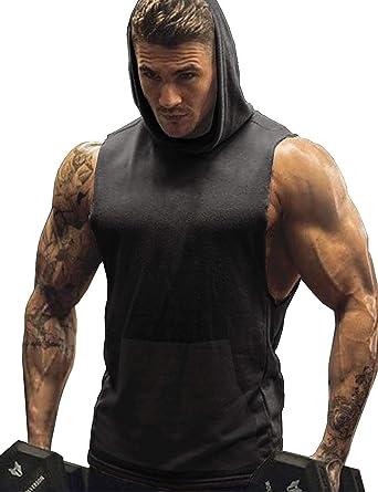 310f12c2e0fba URRU Men s Bodybuilding Hoodie Shirts Stringer Tank Top Muscle Sleeveless  Gym Vest Dark Grey S