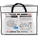 Homescapes - Luxury White Goose Feather & Down 10.5 Tog Double Duvet - 100% Cotton Anti Dust Mite & Down Proof Fabric - Anti allergen - Washable at Home Winter Quilt