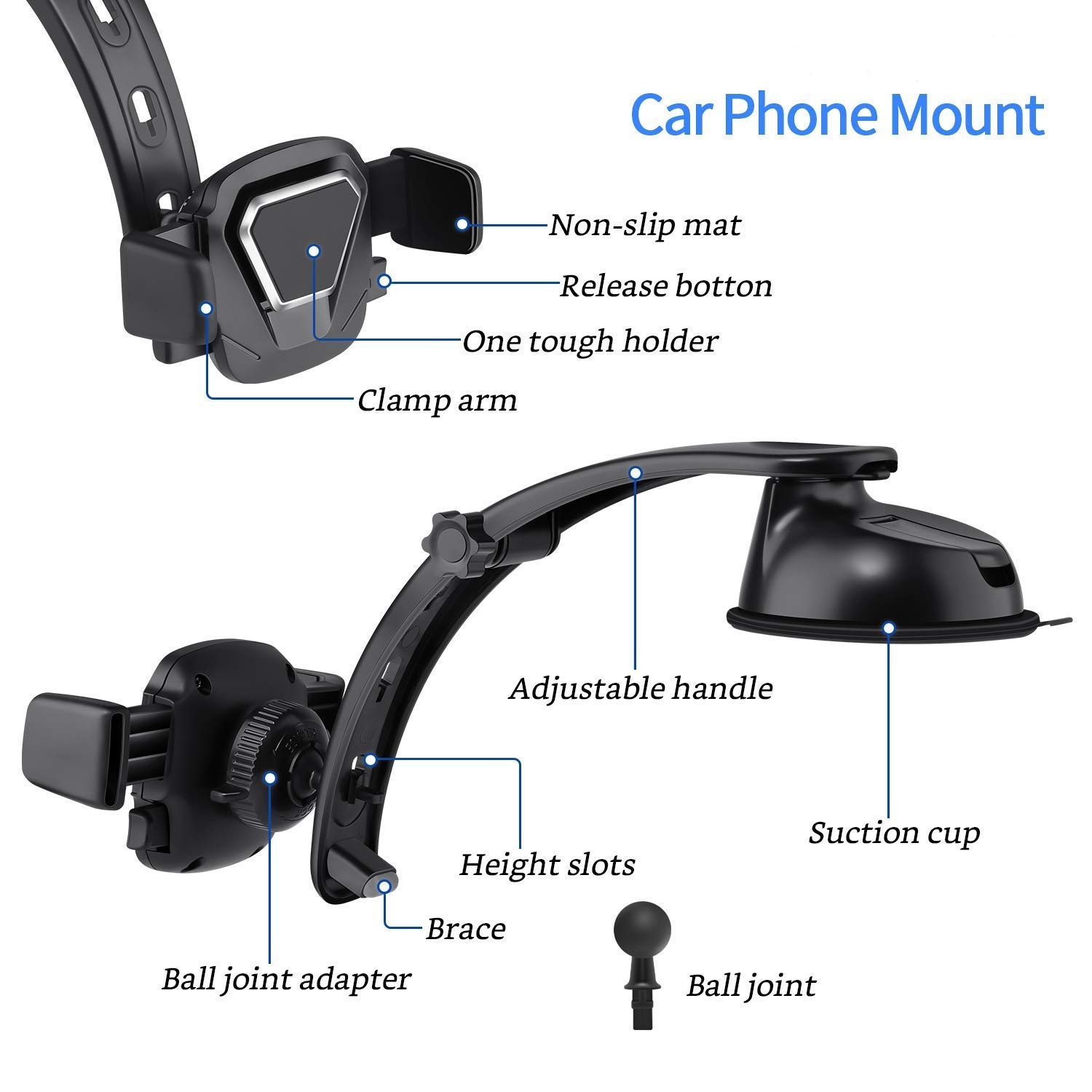 AIRGINE Car Dashboard Mount Phone Holder, Car Mobile Phone Stand,Adjustable Dash Cell Phone Grip Cradle for Samsung Galaxy S10/S9/S8/S9+/S8+/Note9/Note8, iPhone X/Xs/Max/XR/8 Smartphones