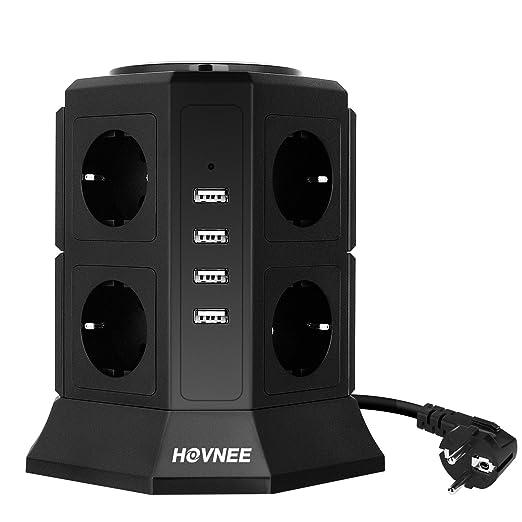 19 opinioni per Multipresa Verticale, HOVNEE Torretta Multipresa Ciabatta 8 Prese Con 4 Slot USB