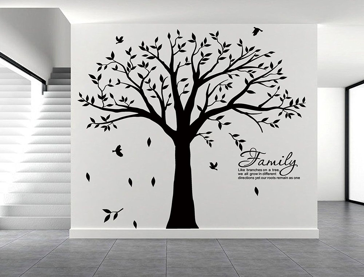 LSKOO Large Family Tree Wall Decal With Family Llike Branches on a Tree Wall Decals Wall Sticks Wall Decorations for Living Room (Black) by LSKOO