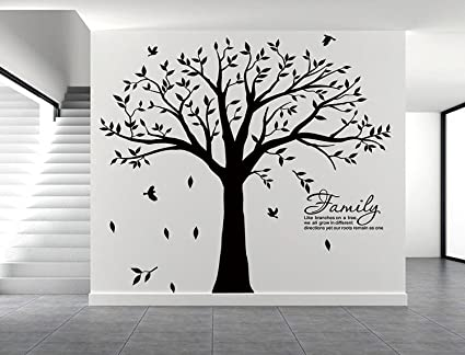 LSKOO Large Family Tree Wall Decal With Family Llike Branches On A Tree  Wall Decals Wall