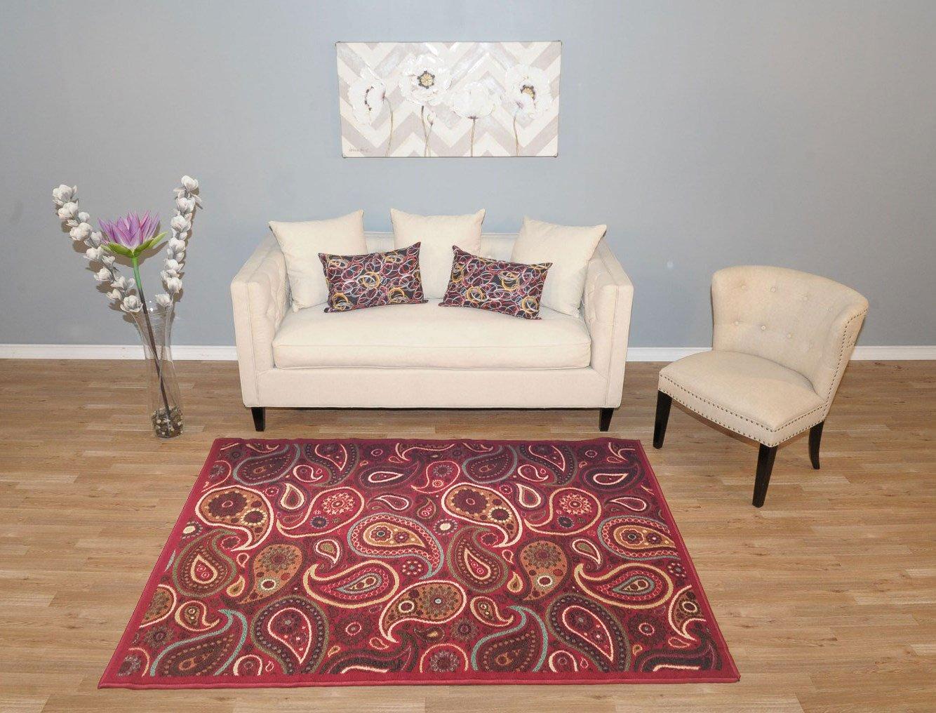 amazoncom new multi paisley design rubber backed durable area rug carpet 5x7 kitchen u0026 dining - 5x7 Area Rugs