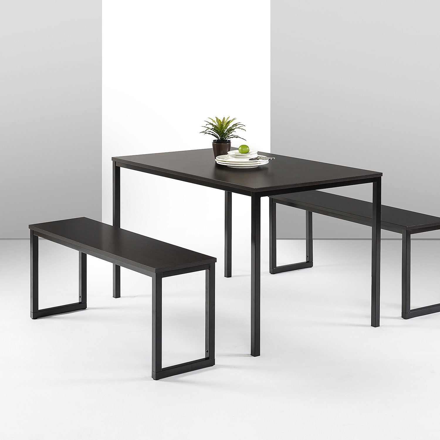 Zinus Modern Studio Collection Soho Dining Table with Two Benches / 3 Piece Set, Espresso