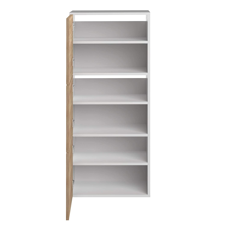 Movian Odiel - Armario zapatero, 50 x 33.1 x 118.7 cm (largo x ancho x alto), roble y blanco