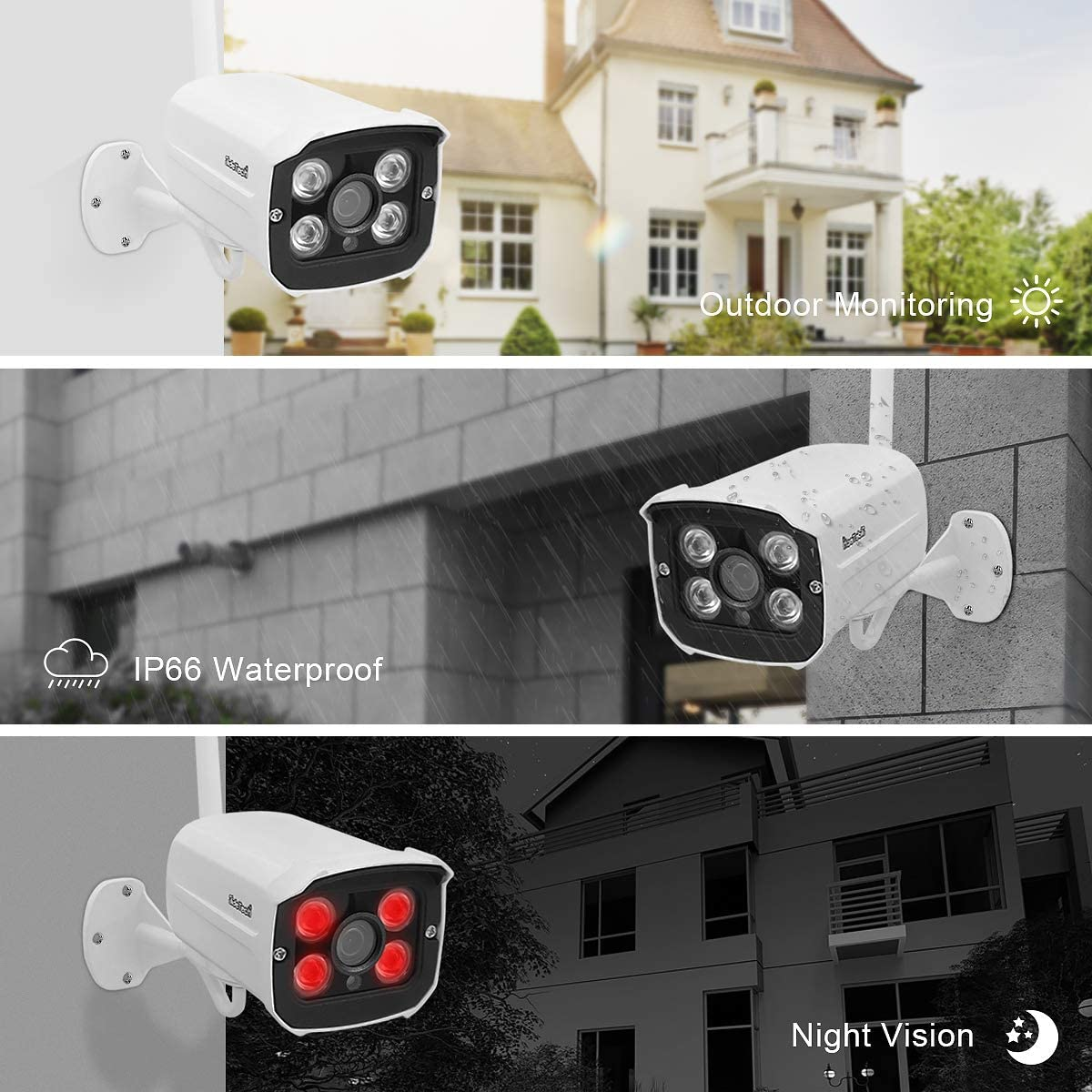 P2P Wireless Security Camera System Plug/&Play 1080P 4CH NVR 4Pcs 2MP WiFi Video Surveillance Cameras with 1TB Hard Drive H.265 Night Vision Motion Detection 24//7 Recording Home Outdoor