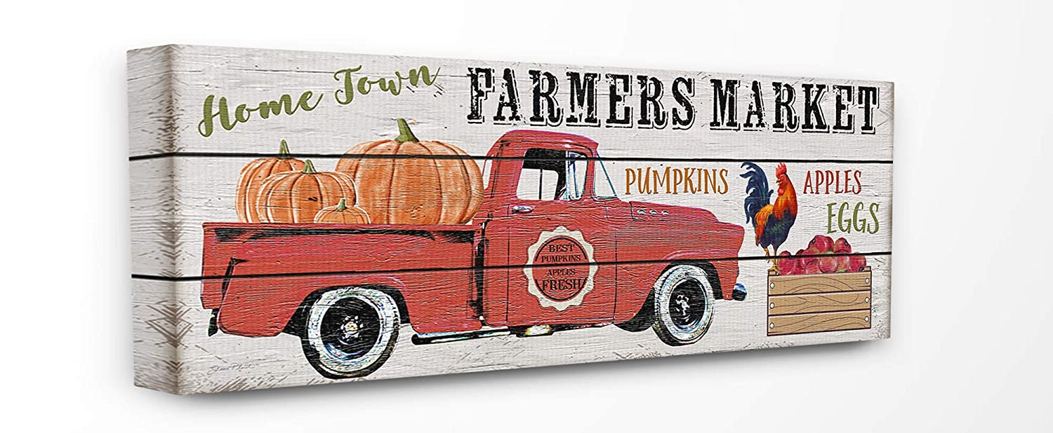 The Stupell Home Decor Home Town Farmers Market Red Pickup Truck with Pumpkins Wall Plaque Art, 7 x 17, Multi-Color