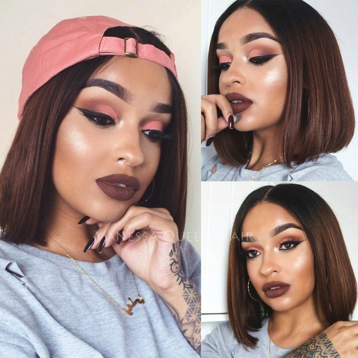 Maycaur Short Straight Human Hair Wigs Ombre Brown Lace Front Wigs Bob Full Lace Wigs For Black Women 150 Density(10inch lace front wig) Vanessa Queen