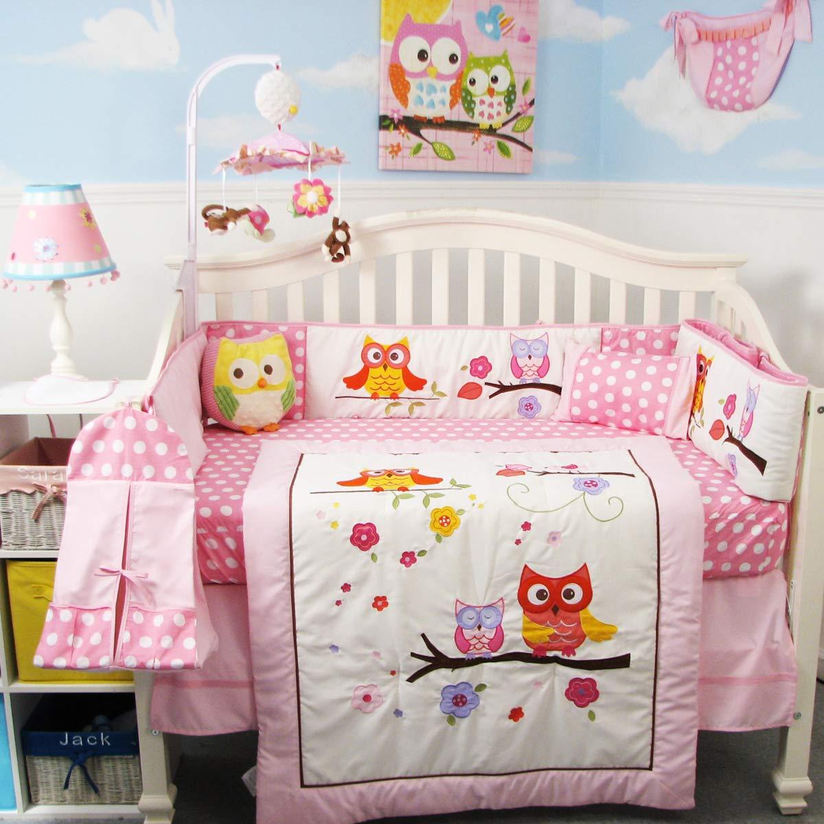 SoHo Baby Crib 10Pc Bedding Set, Pink Owl