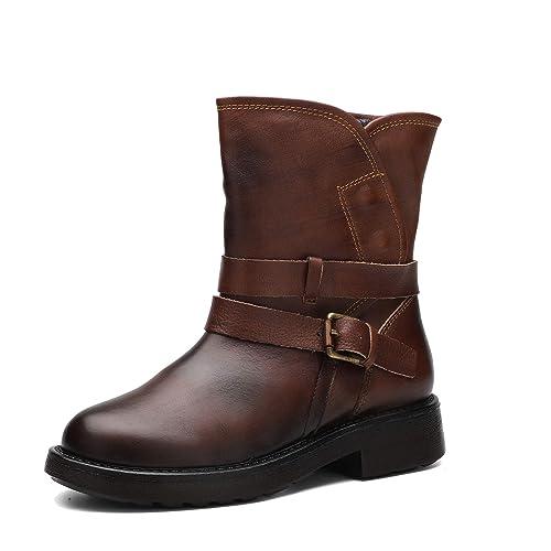 Botas Martin de otoño e Invierno de Mujer con tacón Grueso Botas de Cuero Genuino de Felpa Caliente Zapatos pulidos Hechos a Mano: Amazon.es: Zapatos y ...