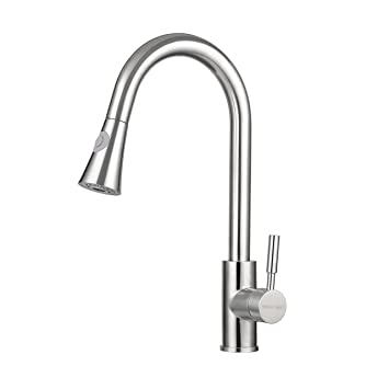 Kitchen Faucet, TRIPLE TREE Stainless Steel Single Handle Pull Down Kitchen  Sink Faucet With High
