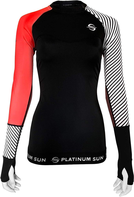 Womens Long Sleeve Sun Protection Rashguard Swim Shirt