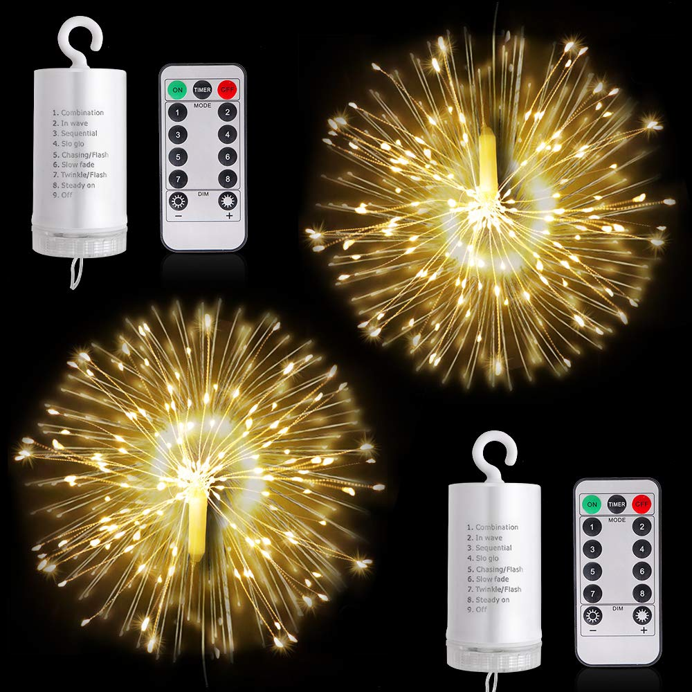 Firework Lights LED String Lights 8 Modes Dimmable Fairy Lights with Remote Control Battery Operated Hanging Starburst Lights with 120 LED Waterproof for Parties Home Outdoor Decoration 2 Pack