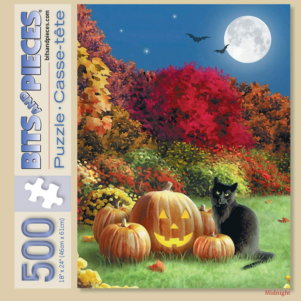 Bits and Pieces 500 pc Halloween Black Cat Pumpkin Jack-O-Lantern Full Moon Jigsaw by Artist Alan Giana 500 Piece Jigsaw Puzzle for Adults 18 x 24/ Midnight