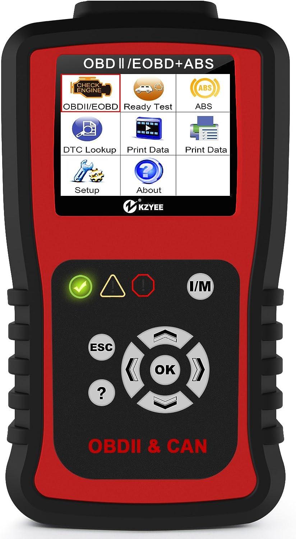 Amazon Com Kzyee Kc401 Abs Obd2 Code Reader Check Engine Light Diagnostic Tool Supports Emission Monitor Status Live Data O2 Sensor Data Automotive