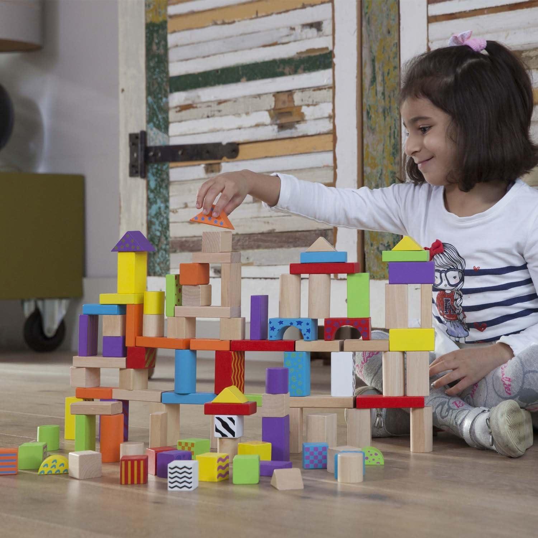 New Classic Giocattoli - 0813 - Forma e quelli in Pila - Barrel Cubes - Fantasy - 100 pezzi , Modelli/Colori Assortiti, 1 Pezzo Fantasy