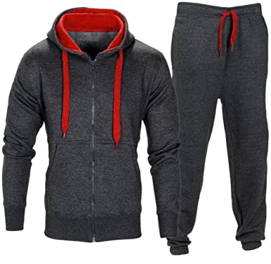 Men Stretchy Trousers Hooded Zipper Sweartshirt Jacket Coat Sports Set