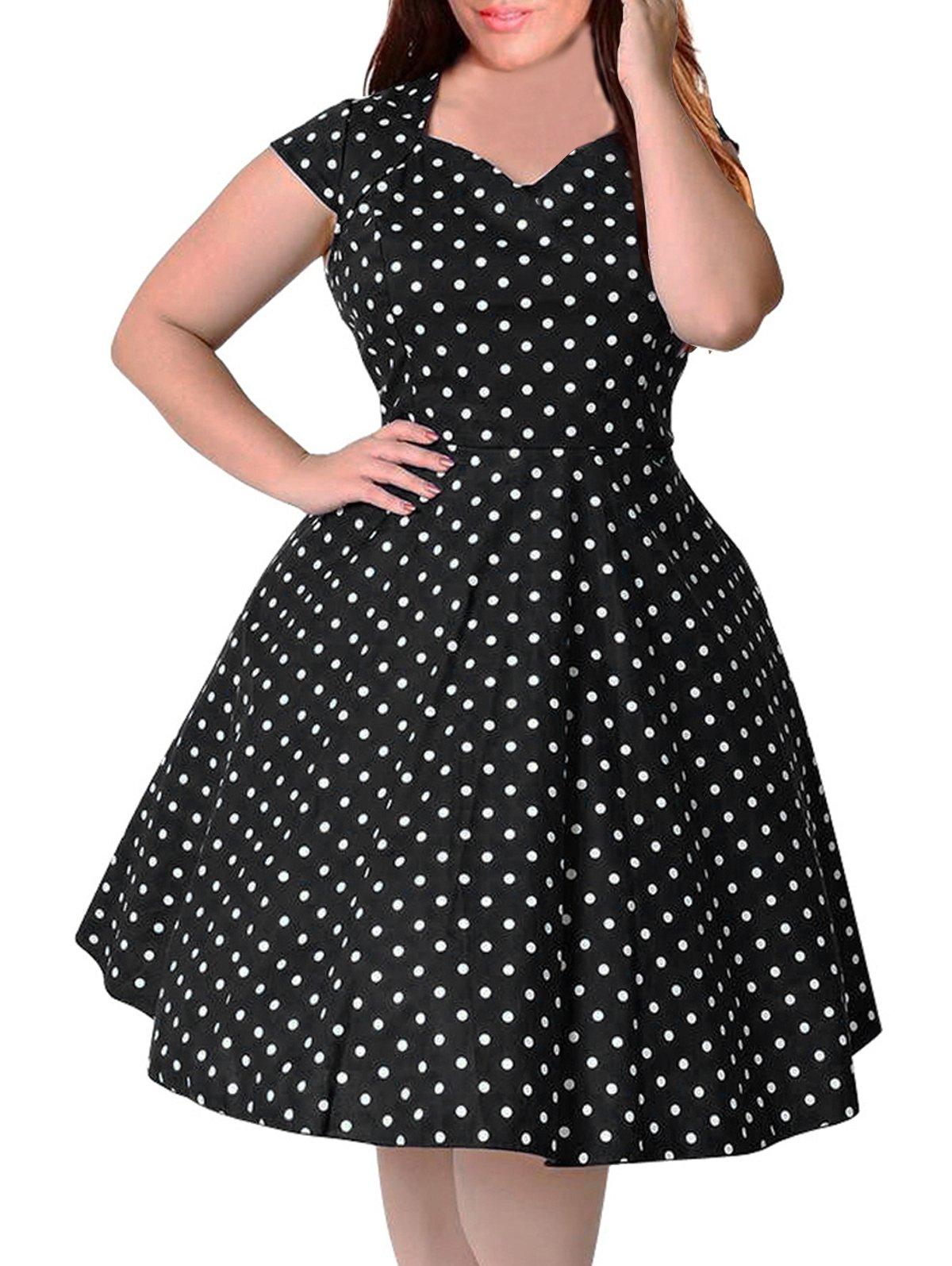 Nemidor Women's 1950s Style Polka Dot Pattern Vintage Plus Size Swing Dresss (18W, Black)