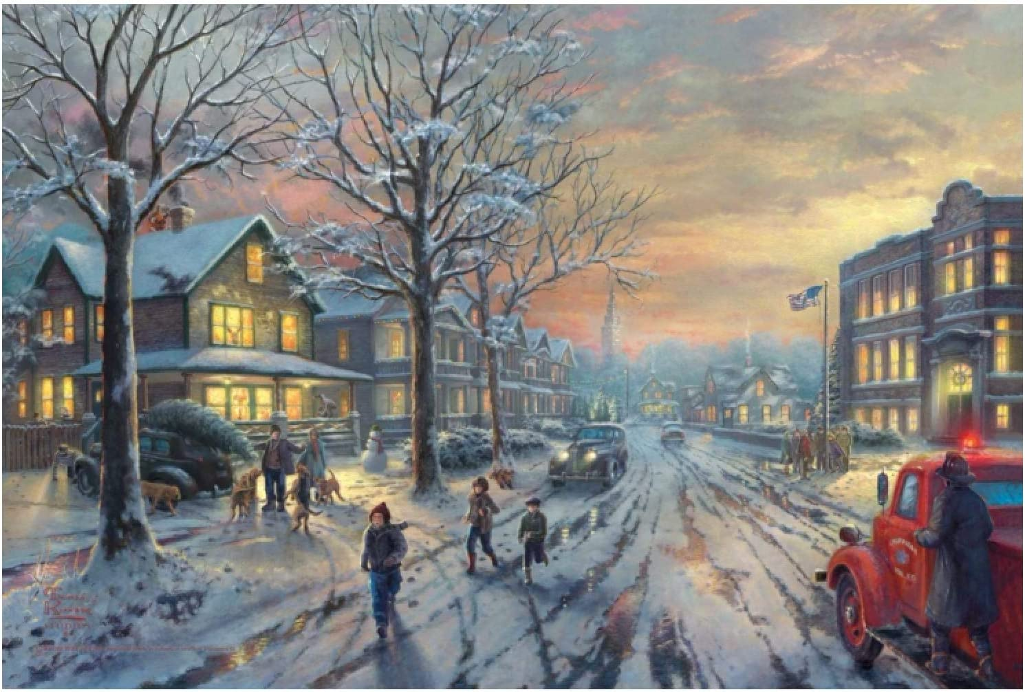 CAOHD Poster and Prints Thomas Kinkade A Christmas Story Canvas Painting Print Home Decoration for Home Living Room-60X80Cm No Frame