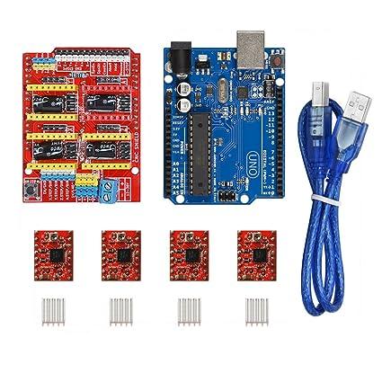 KOOKYE CNC Tarjeta de expansión protectora, tarjeta UNO R3 y 4 controladores de motor paso a paso A4988 con disipador térmico para impresora 3D ...
