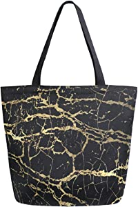 ZzWwR 3d Black Marble Stone Print Extra Large Canvas Beach Travel Reusable Grocery Shopping Tote Bag Foldable Portable Storage HandBags