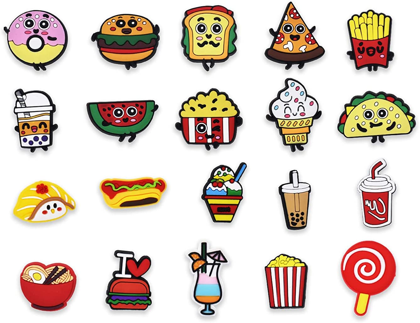 20pcs Food PVC Shoe Charms Different Shapes Hamburger Ice Cream Chips Noodle Decorations fit Sandals/Bracelets for Teens Boys Girls Kids Birthday Gifts