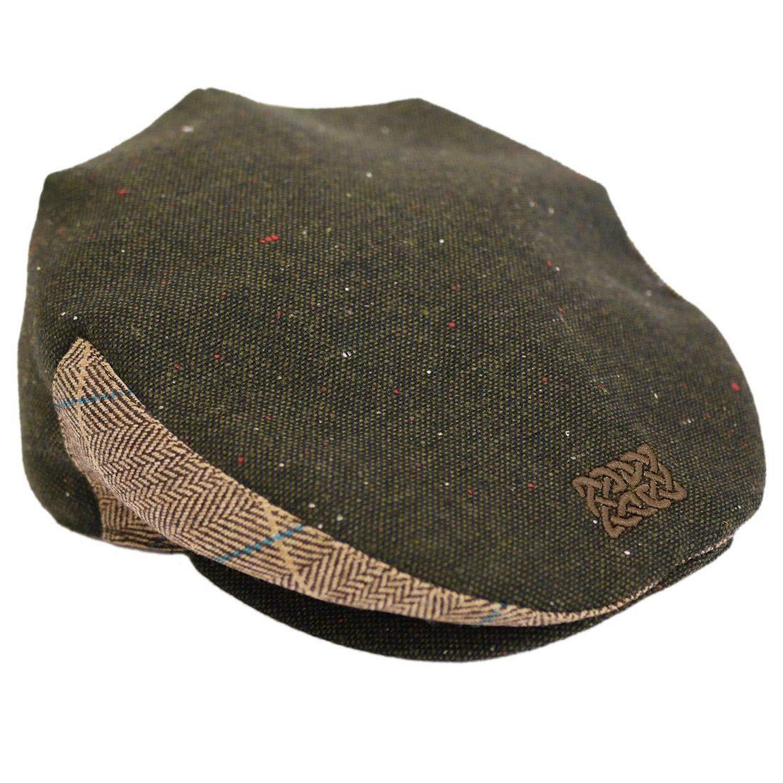 Medium Patrick Francis Designs Ltd Men Green Tweed Celtic Knot Flat Cap