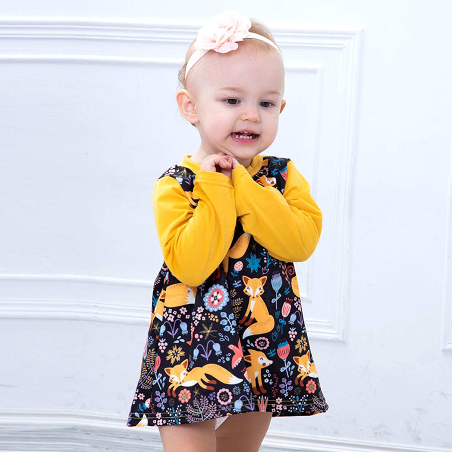 Baby Toddler Girl Long Sleeve Blouse Fox Cartoon Mini Dress Spring Clothes for Infant Little Girl