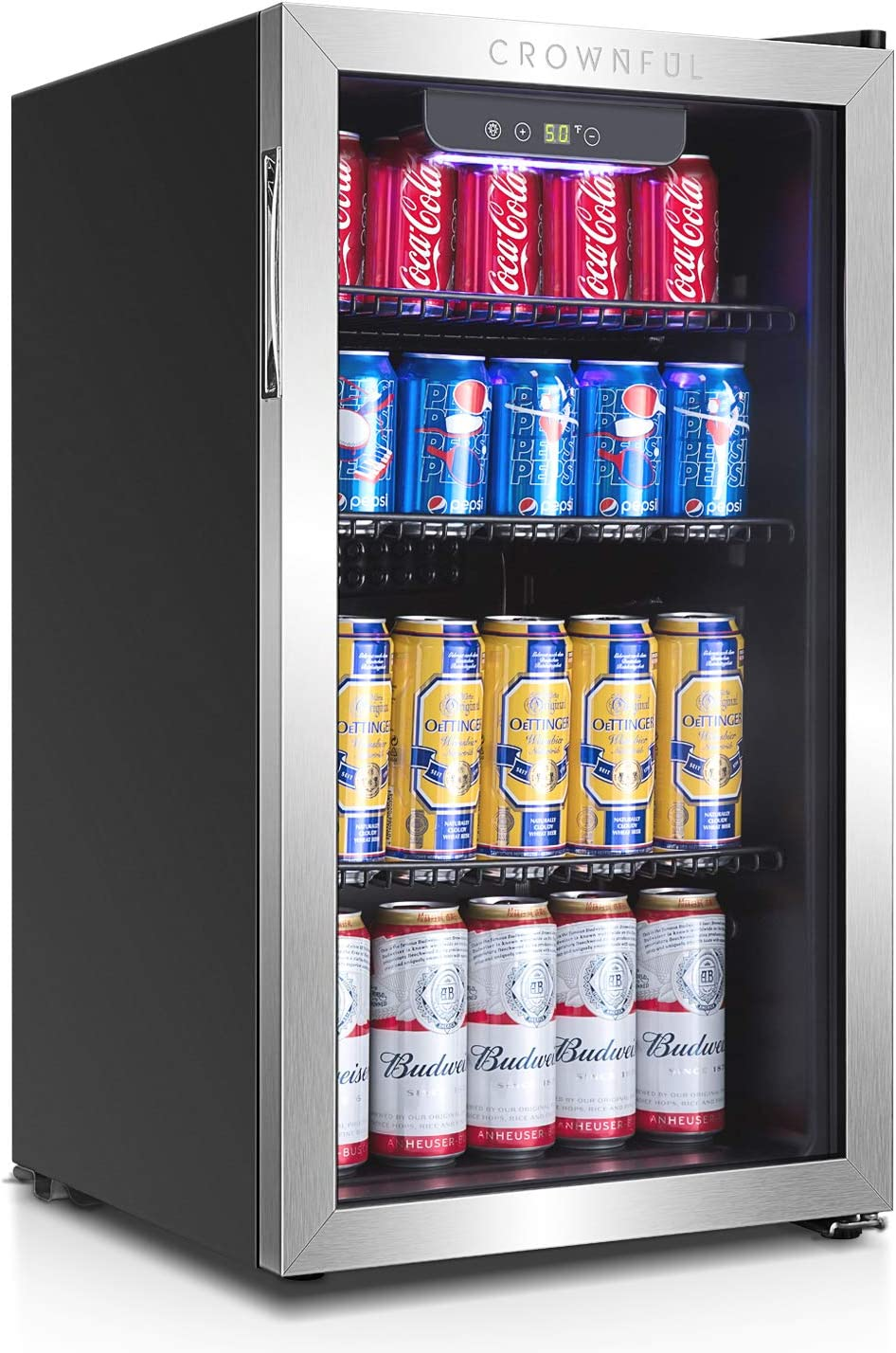 Crownful Beverage Refrigerator and Cooler, Holds up to 120-Can Mini Fridge with Adjustable Shelves, Stainless Steel Frame & Glass Door with Handle, Best for Home or Office,UL Listed