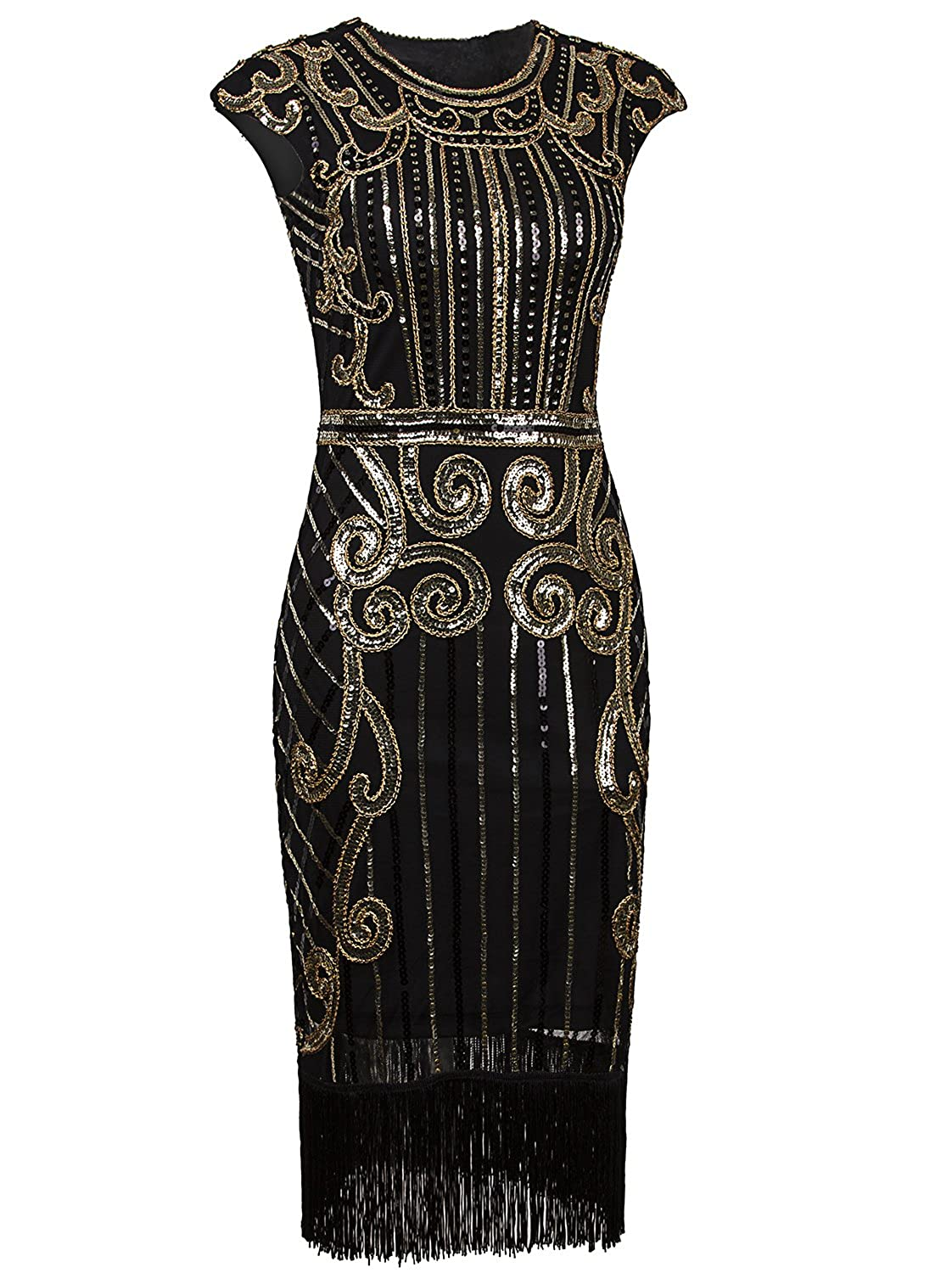 Black Flapper Dresses, 1920s Black Dresses Vijiv 1920s Vintage Inspired Sequin Embellished Fringe Long Gatsby Flapper Dress $33.99 AT vintagedancer.com
