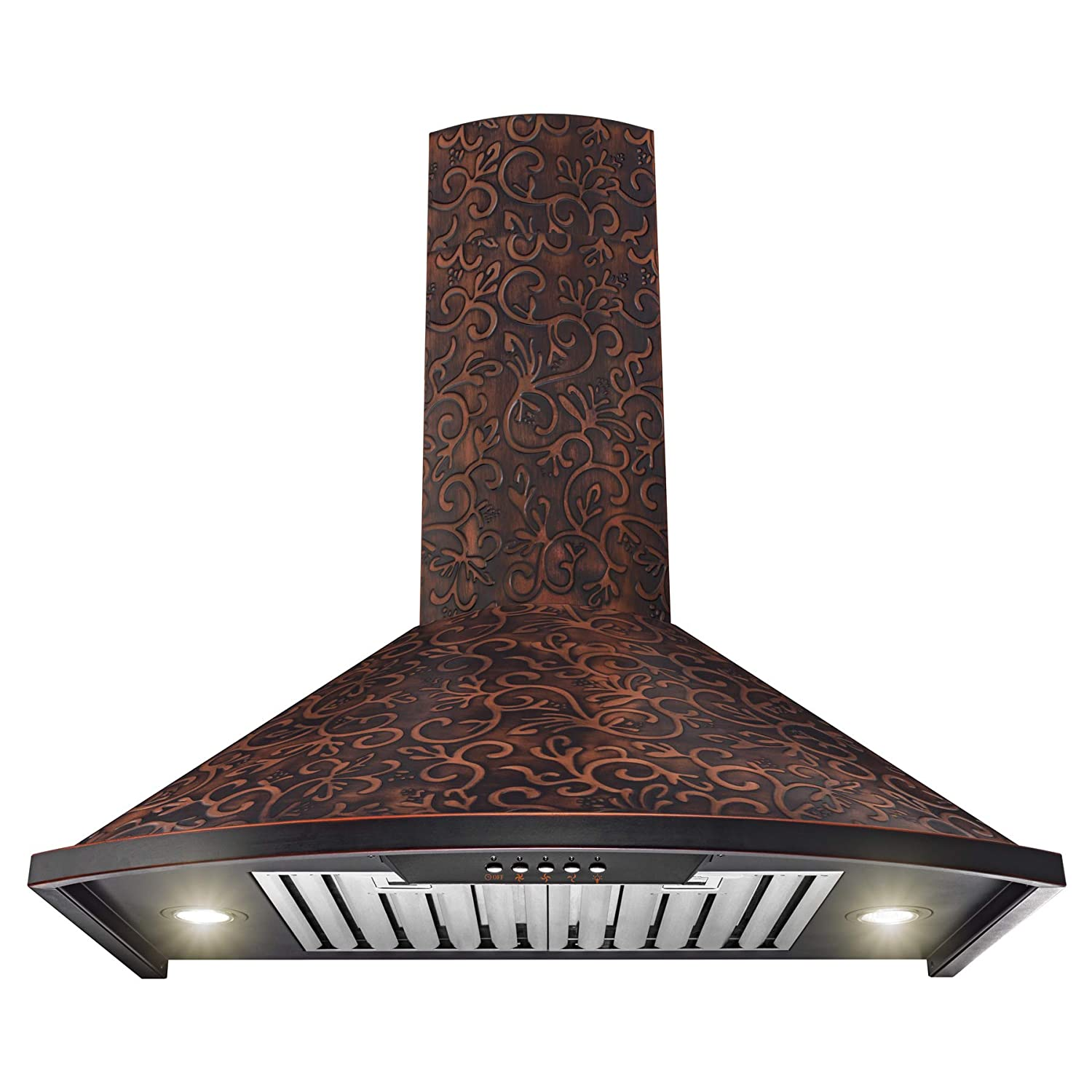"AKDY RH0400 Wall Mount Range Hood –30"" Embossed Copper Hood Fan for Kitchen – 3-Speed Professional Quiet Motor – Premium Push Control Panel – Elegant Vine Design – Baffle Filter & Halogen Lamp"