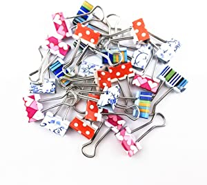 yueton Pack of 24 Lovely Mini Printing Style Metal Binder Clips, Paper Clips Clamps File Organizer