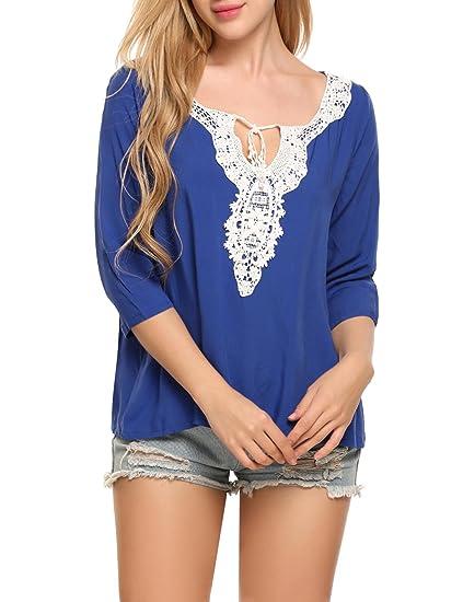 f54a4313f01 ELESOL Women Elegant Lace Casual Tops V-Neck 3 4 Sleeve Boho Blouse Tops