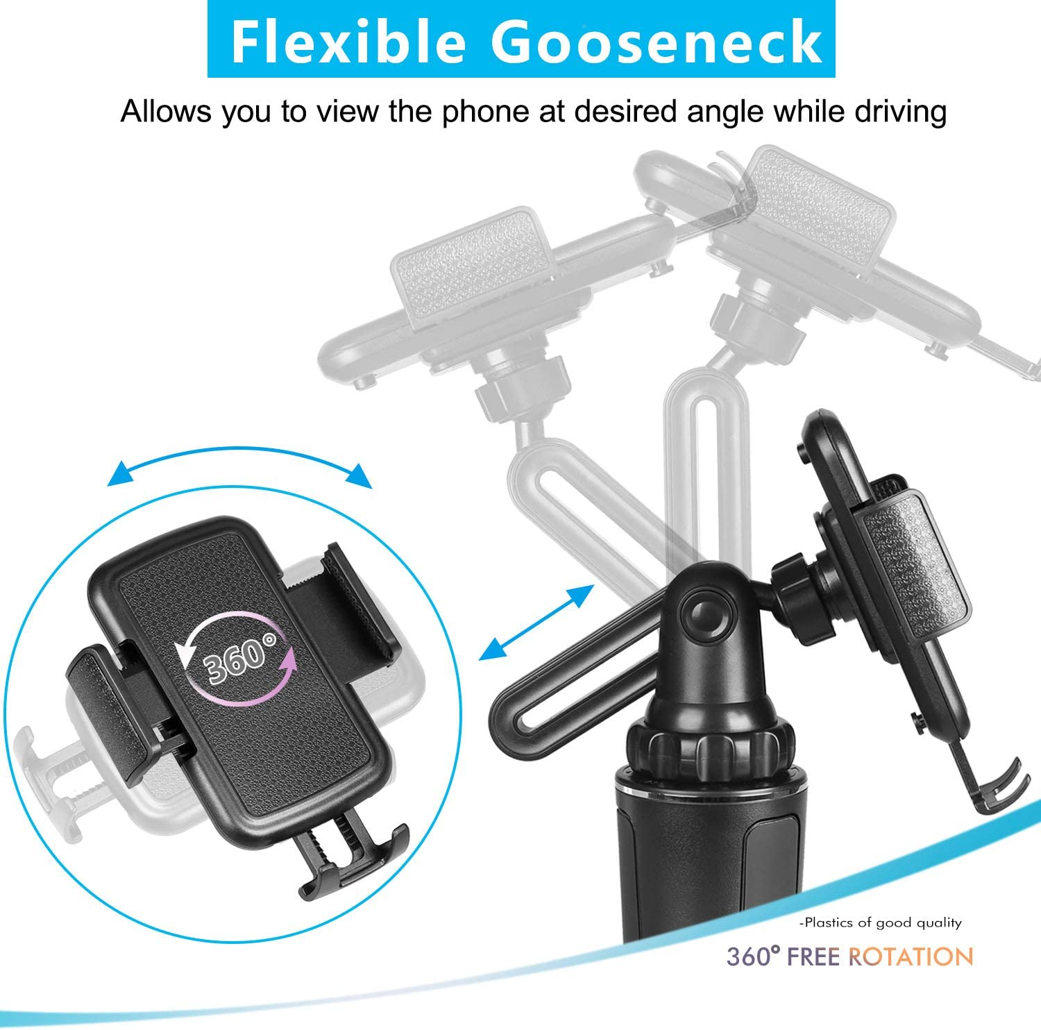 Car Cup Holder Phone Mount Upgraded UBEEQLO Adjustable Universal Cup Holder Cradle Car Mount with Flexible Long Neck for Cell Phone iPhone 11pro Xs XS Max XR X 8 8plus 7 7 Plus Samsung Galaxy S9 S8 S7