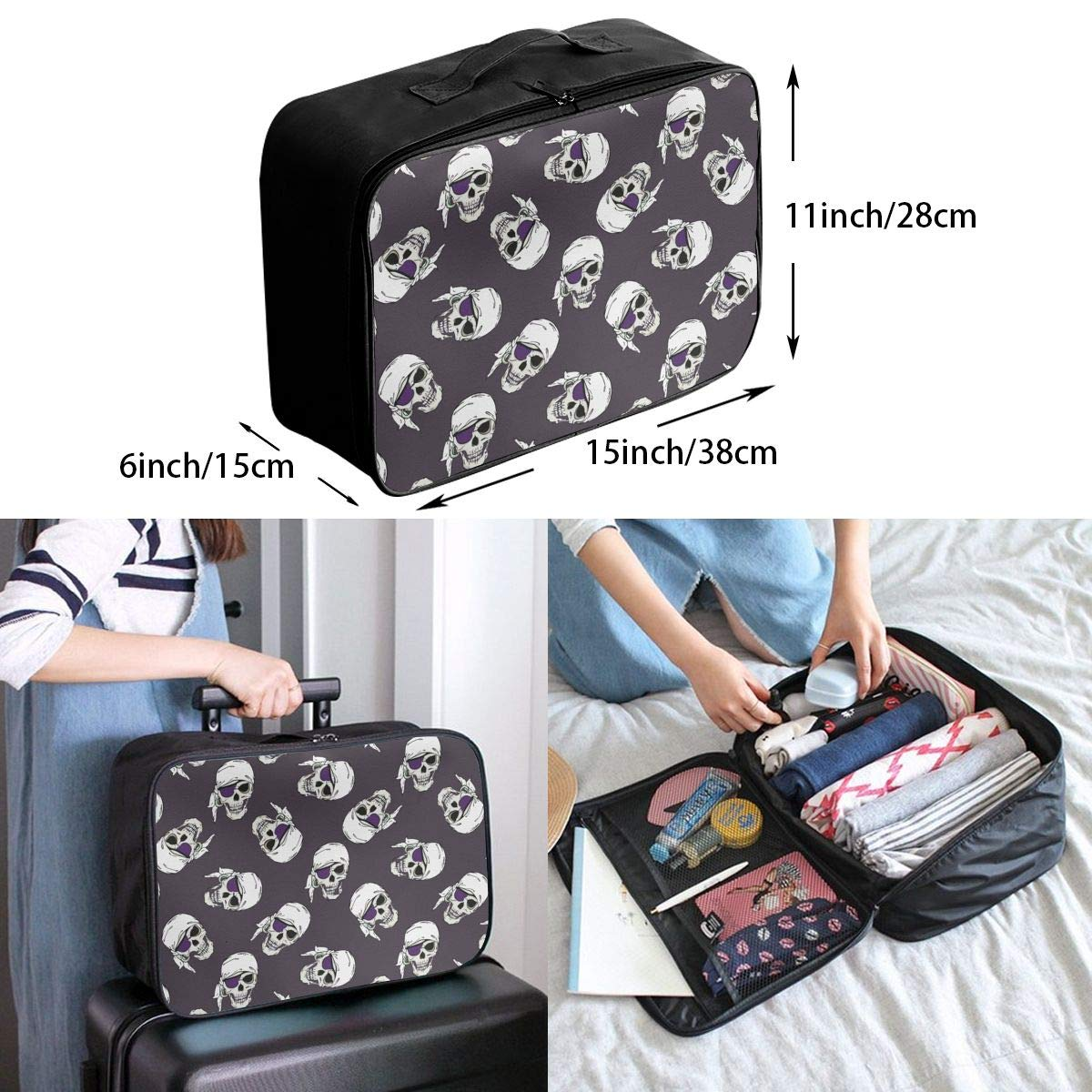 Pirates Skulls Travel Fashion Lightweight Large Capacity Duffel Portable Waterproof Foldable Storage Carry Luggage Tote Bag