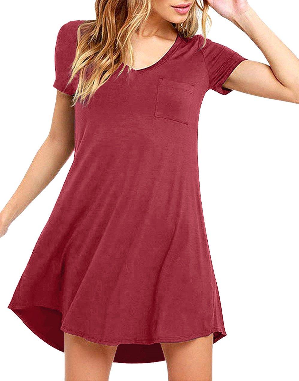 Eanklosco Womens Casual Short Sleeve Plain Pocket V Neck T Shirt Tunic Dress (Wine Red, XL)