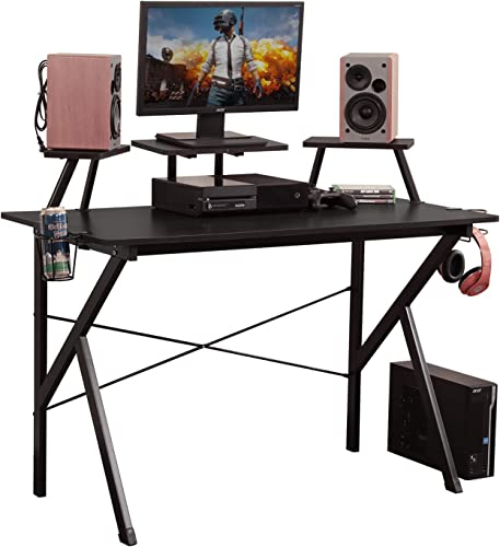 DlandHome Gaming Desk 47 inches w/Adjustable Display Speaker Stand and Headphone Gamepad Holder Multifunction Computer Desk/Gaming Table