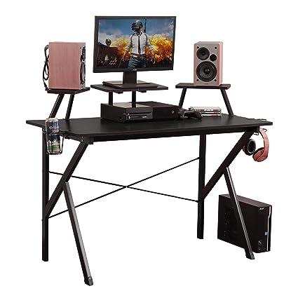 Amazon Com Dlandhome Gaming Desk 47 W Adjustable Display Speaker