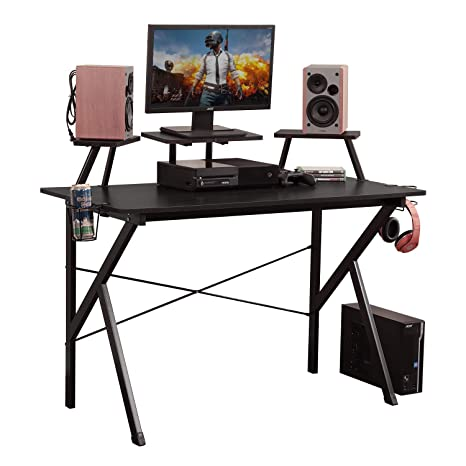 DlandHome Escritorio para computadora de Juegos, Mesa de Juego/estación de Trabajo de 120 * 60 cm con Soporte para Monitor, Soporte para Altavoz y ...