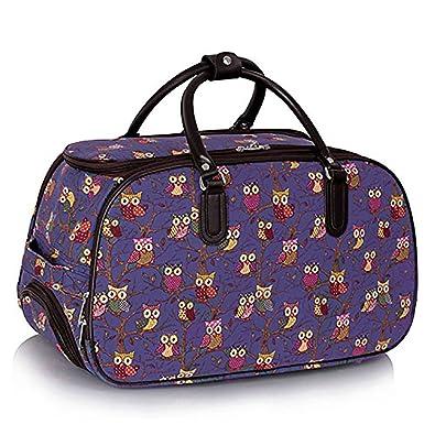 cfc4bd354e Luggage Ladies Travel Holdall Bags Hand Luggage Womens Polka Dot Weekend Wheeled  Trolley Handbag Hand Luggage Trendstar (Purple)  Amazon.co.uk  Shoes   Bags