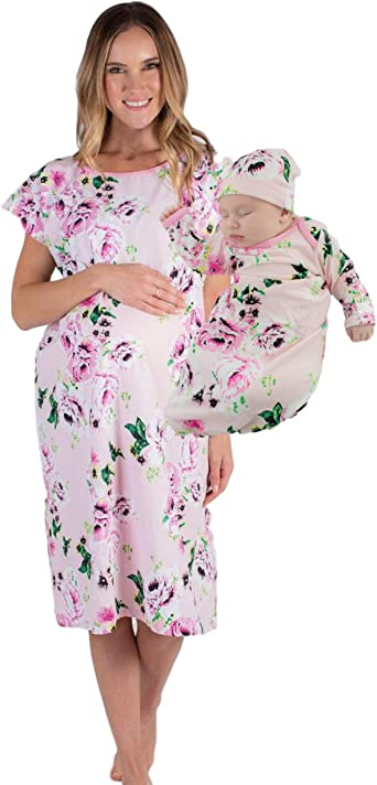 Pregnancy Nursing Gown Mama Bear Maternity Gown Hospital Gown | Baby shower Gifts for Moms Labor /& Delivery