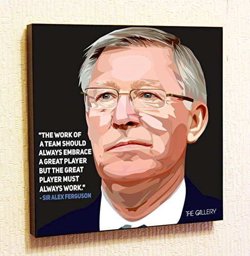 Sir Alex Ferguson Manchester United MU Decor Motivational Quotes Wall Decals Pop Art Gifts Portrait Framed Famous Paintings on Acrylic Canvas Poster Prints 20x20 50.8cm x 50.8cm