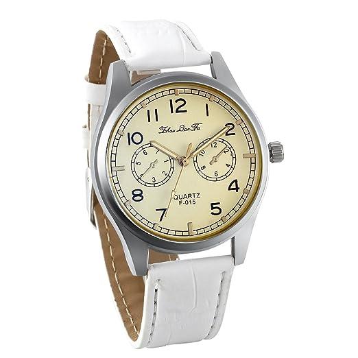 JewelryWe Reloj de Hombre Mujer Cuarzo Correa de Cuero Blanco Reloj Retro Vintage de Numeros Arabigos Estilo Elegante Buen Regalo de Navidad: Amazon.es: ...